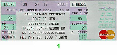 Boyz II Men 1990s Ticket from Tacoma Dome on 29 May 98: Ticket One