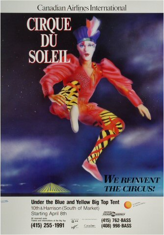 "Cirque du Soleil Poster from 10th Street & Harrison Street on 08 Apr 88: 16 1/4"" x 23"""