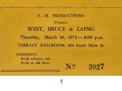 West, Bruce & Laing 1970s Ticket from Terrace Ballroom on 30 Mar 72: Ticket One