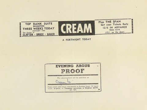 "Cream Proof from Top Rank Brighton Suite on 19 Jan 68: 7 1/2"" x 10"""