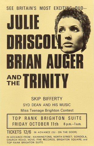 "Julie Driscoll Handbill from Top Rank Brighton Suite on 11 Oct 68: 5 1/2"" x 8 1/2"""