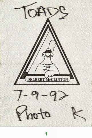 Delbert McClinton Backstage Pass from Toad's Place on 09 Jul 92: Pass 1