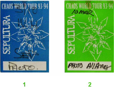 Sepultura Backstage Pass from Toad's Place on 10 Mar 94: Pass 1