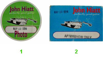 John Hiatt Backstage Pass from Toad's Place on 28 May 94: Pass 2