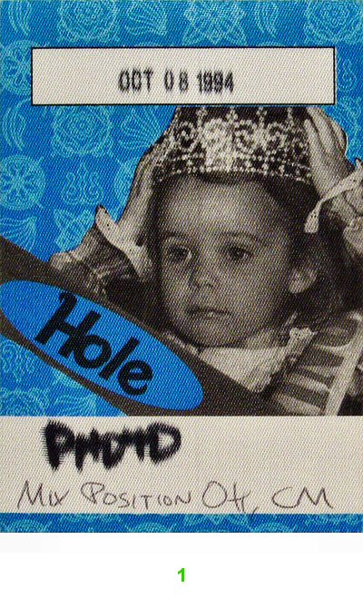 Hole Backstage Pass from Toad's Place on 08 Oct 94: Pass 1