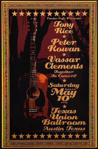 """Tony Rice Poster from Texas Union Ballroom on 10 May 03: 11 1/2"""" x 17 1/2"""""""