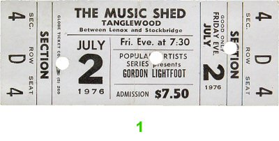 Gordon Lightfoot 1970s Ticket from Tanglewood on 02 Jul 76: Ticket One