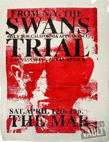 "The Swans Poster from Mabuhay Gardens on 12 Apr 97: 22 1/2"" x 29 1/4"""