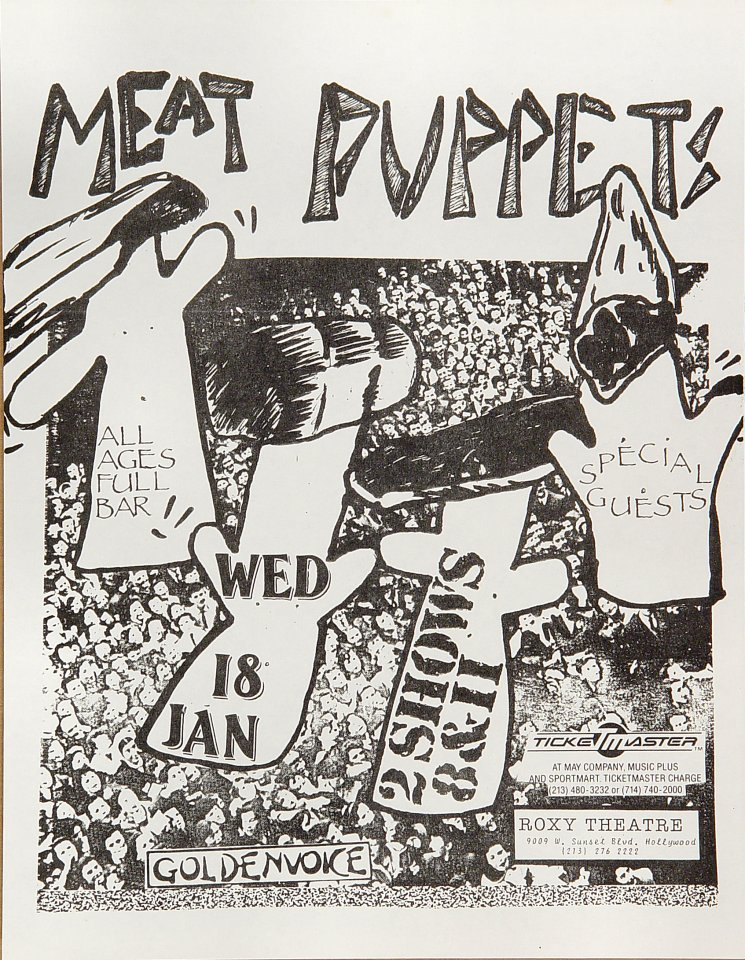 "Meat Puppets Handbill from Roxy on 18 Jan 84: 8 1/2"" x 11"""