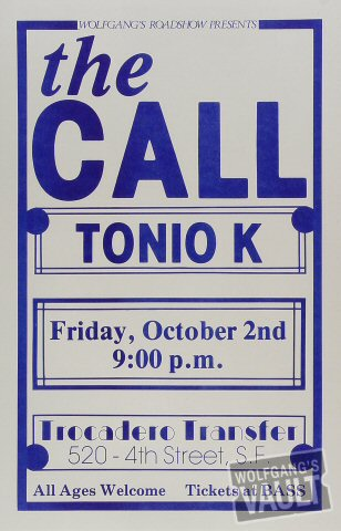 "The Call Poster from Trocadero Transfer on 02 Oct 87: 11"" x 17"""