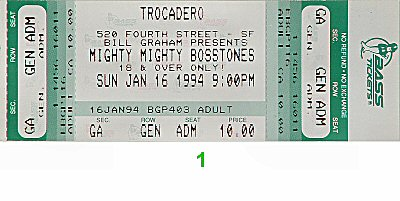 The Mighty Mighty Bosstones 1990s Ticket from Trocadero Transfer on 16 Jan 94: Ticket One