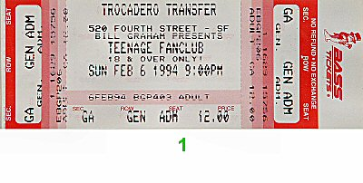 Teenage Fanclub 1990s Ticket from Trocadero Transfer on 06 Feb 94: Ticket One
