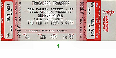 Swervedriver 1990s Ticket from Trocadero Transfer on 17 Feb 94: Ticket One