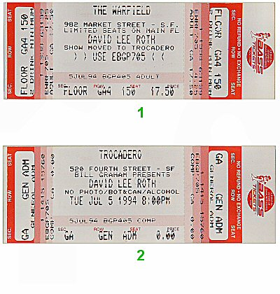 David Lee Roth 1990s Ticket from Trocadero Transfer on 05 Jul 94: Ticket One
