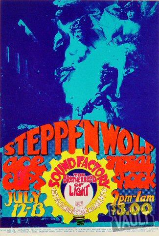 """Steppenwolf Handbill from Sound Factory on 12 Jul 68: 4 1/2"""" x 6 5/8"""""""