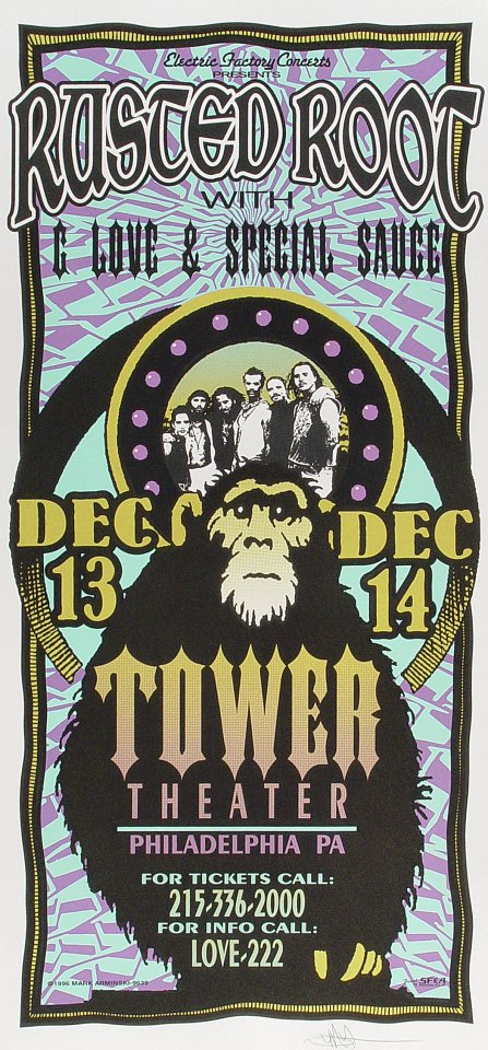 "Rusted Root Poster from Tower Theater on 13 Dec 96: 10 1/2"" x 22 1/4"""