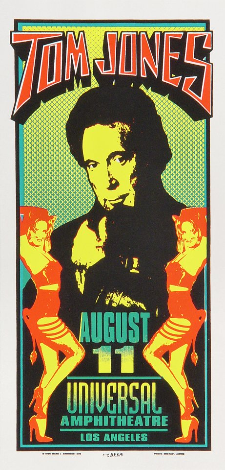 "Tom Jones Handbill from Universal Amphitheatre on 11 Aug 95: 4 1/8"" x 8 1/2"""