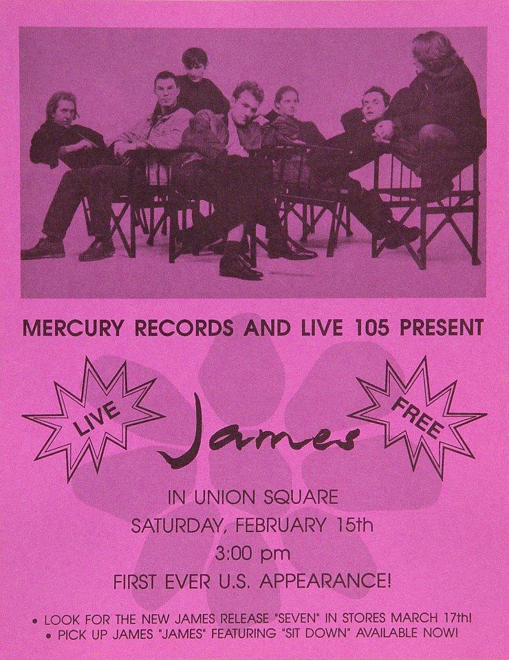 "James Handbill from Union Square on 15 Feb 86: 8 1/2"" x 11"""
