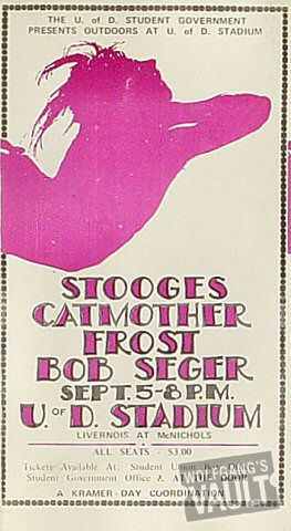 "The Stooges Handbill from U of D Stadium on 05 Sep 70: 4"" x 7 1/2"""