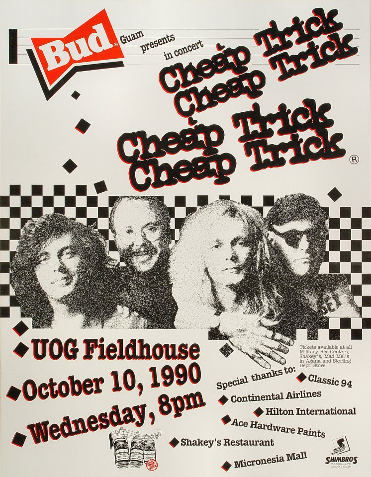 Cheap Trick Poster from University of Guam on 10 Oct 90: 17&quot; x 22&quot;