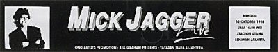 Mick Jagger Sticker from Utama Senayan Stadium on 30 Oct 88: Bumper Sticker