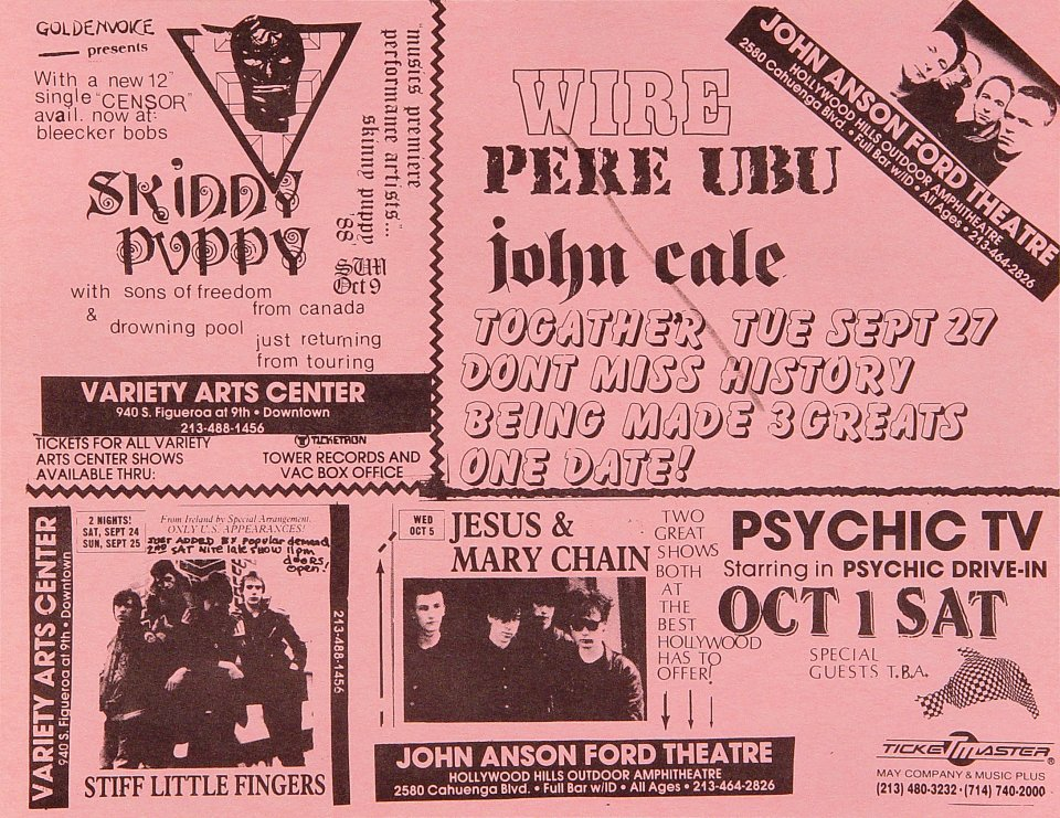 "Skinny Puppy Handbill from Variety Arts Theatre on 24 Sep 89: 8 1/2"" x 11"""