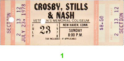 Crosby, Stills & Nash 1970s Ticket from New Haven Veterans Memorial Coliseum on 23 Jul 78: Ticket One