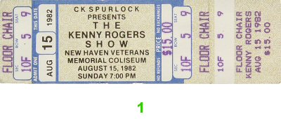 Kenny Rogers 1980s Ticket from New Haven Veterans Memorial Coliseum on 15 Aug 82: Ticket One