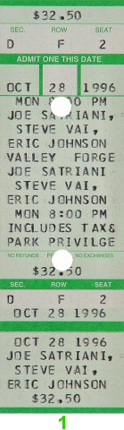 Joe Satriani 1990s Ticket from Valley Forge Music Fair on 28 Oct 96: Ticket One