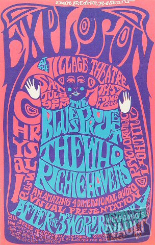 "The Who Handbill from Village Theatre on 08 Jul 67: 6 1/8"" x 9 5/8"""