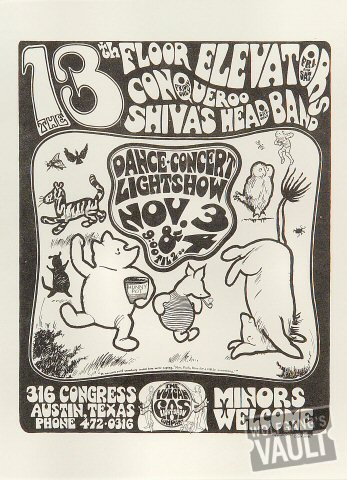 "13th Floor Elevators Handbill from Vulcan Gas Company on 03 Nov 67: 7 7/8"" x 10 3/4"""
