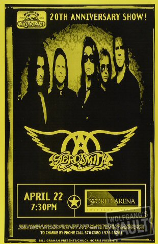 "Aerosmith Poster from World Arena on 22 Apr 98: 11"" x 17"""