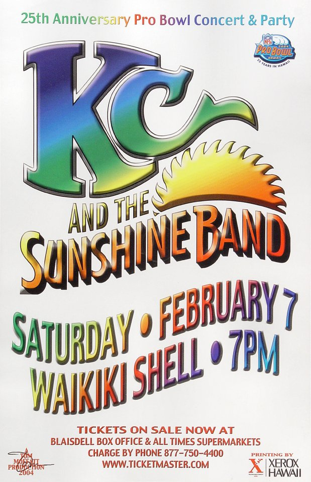 "K.C. and the Sunshine Band Poster from Waikiki Shell on 07 Feb 04: 11"" x 17"""