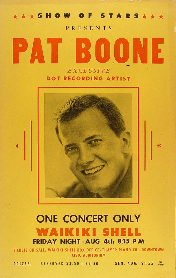 "Pat Boone Poster from Waikiki Shell on 04 Aug 61: 14"" x 22 1/8"""