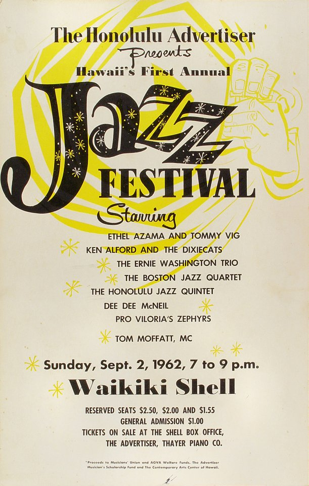 "Ethel Azama Poster from Waikiki Shell on 02 Sep 62: 14"" x 22"""