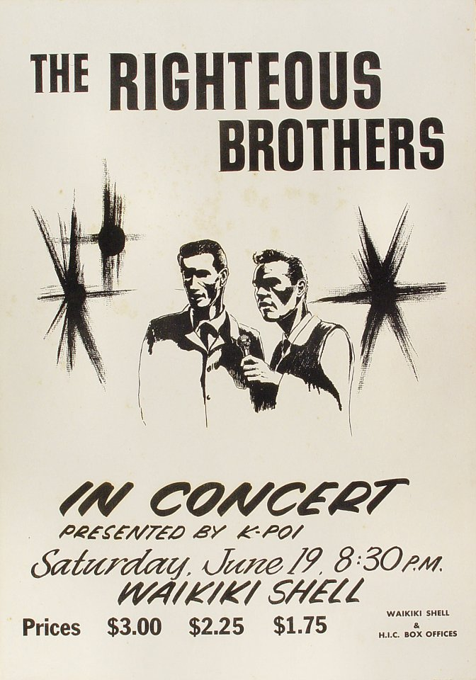 "The Righteous Brothers Poster from Waikiki Shell on 19 Jun 65: 14 1/8"" x 20"""