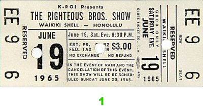 The Righteous Brothers 1960s Ticket from Waikiki Shell on 19 Jun 65: Ticket One