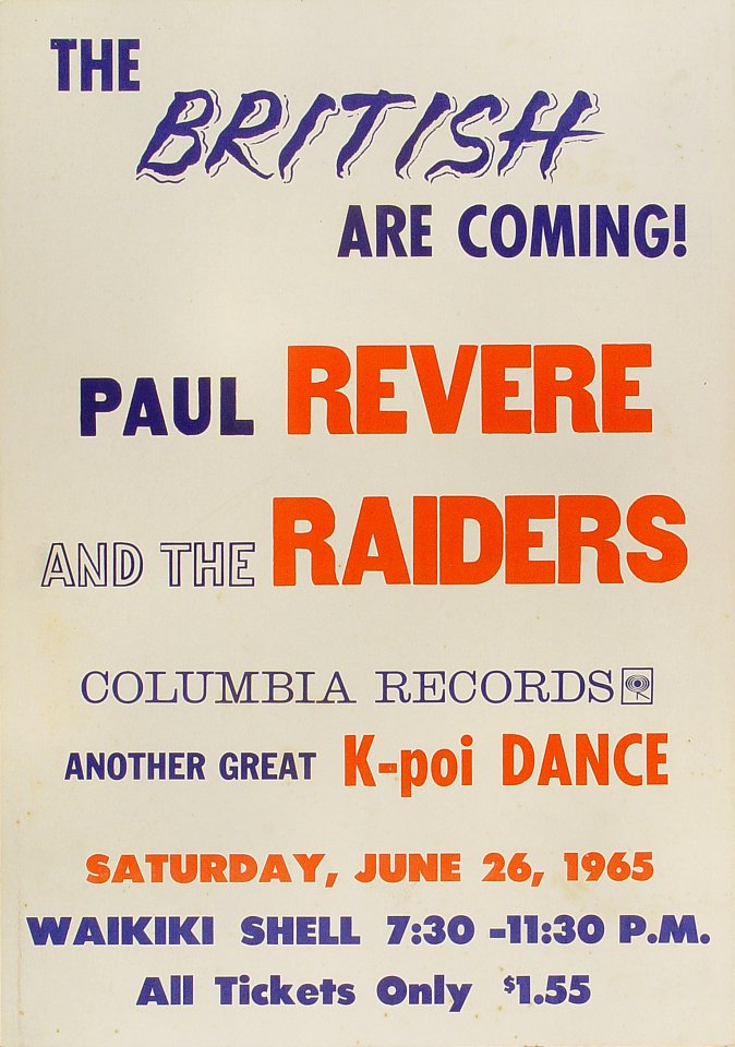 "Paul Revere and the Raiders Poster from Waikiki Shell on 26 Jun 65: 14 1/8"" x 22 1/8"""