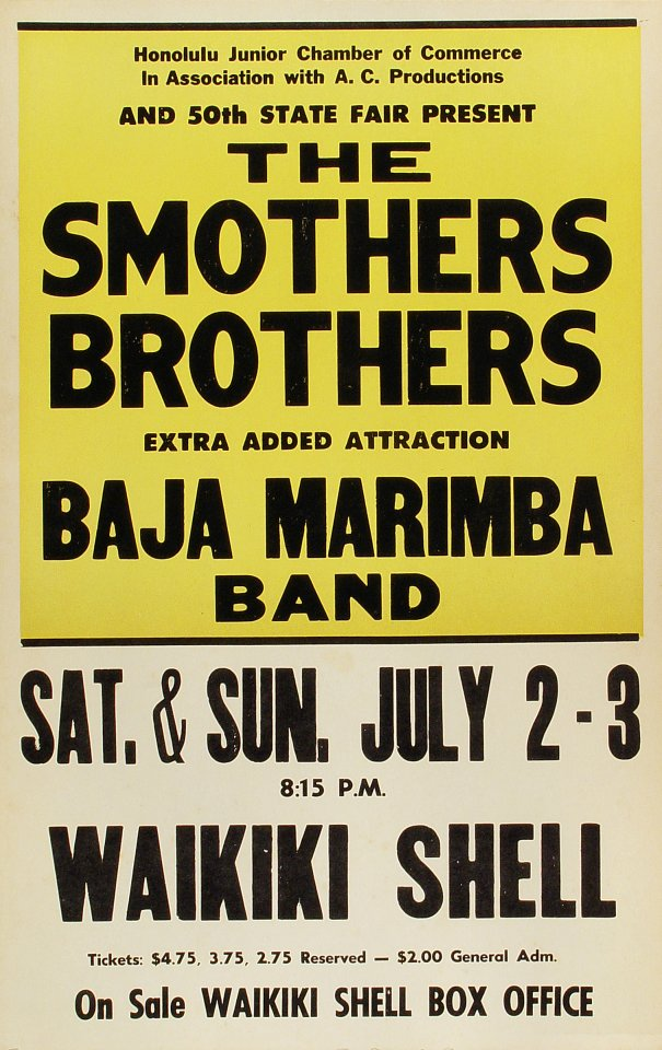 "The Smothers Brothers Poster from Waikiki Shell on 02 Jul 66: 14"" x 22"""