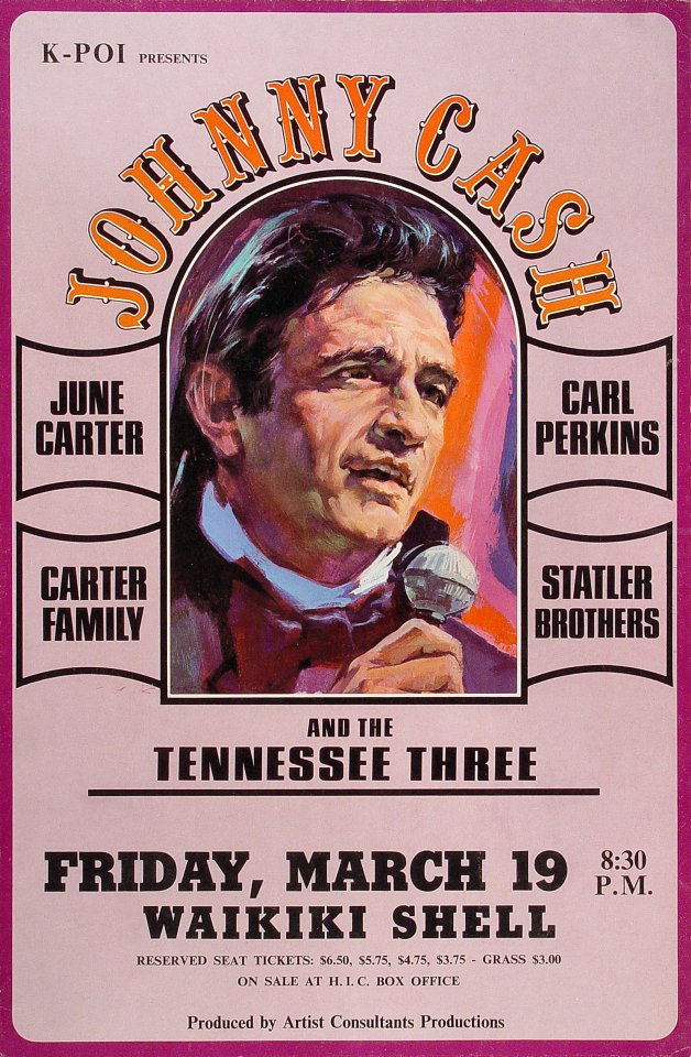 "Johnny Cash Poster from Waikiki Shell on 19 Mar 71: 13 3/4"" x 20 7/8"""