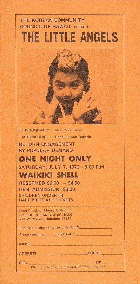 "The Little Angels Handbill from Waikiki Shell on 07 Jul 73: 4 3/8"" x 9 """