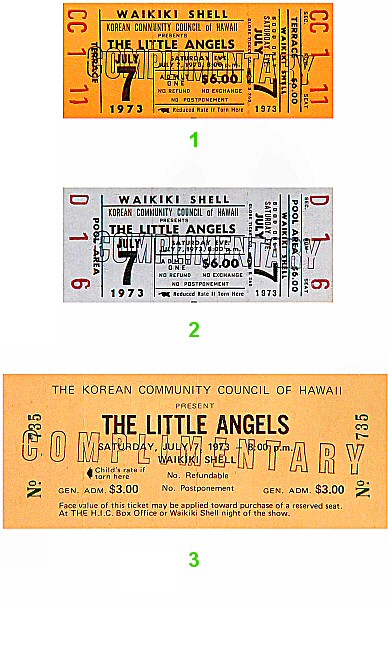 The Little Angels 1970s Ticket from Waikiki Shell on 07 Jul 73: Ticket One