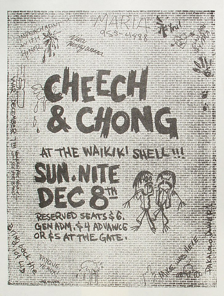 "Cheech and Chong Handbill from Waikiki Shell on 08 Dec 74: 9 1/4"" x 12 1/4"""