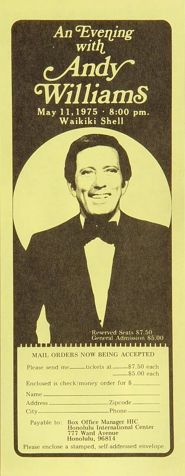 Andy Williams Handbill from Waikiki Shell on 11 May 75: 4 1/4&quot; x 11&quot;