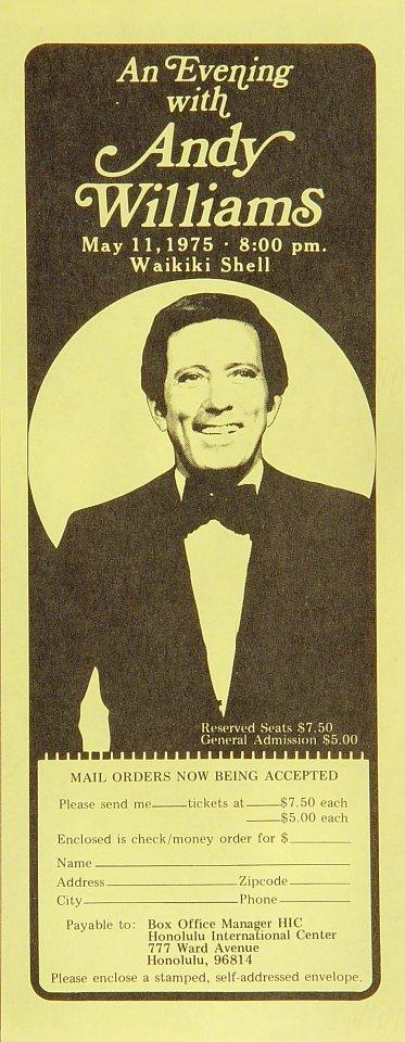 "Andy Williams Handbill from Waikiki Shell on 11 May 75: 4 1/4"" x 11"""