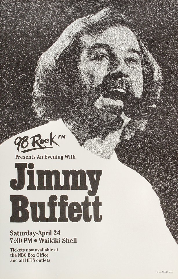 "Jimmy Buffett Poster from Waikiki Shell on 24 Apr 82: 14  3/8"" x 22 5/8"""