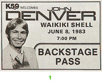 John Denver Backstage Pass from Waikiki Shell on 08 Jun 83: Pass 1