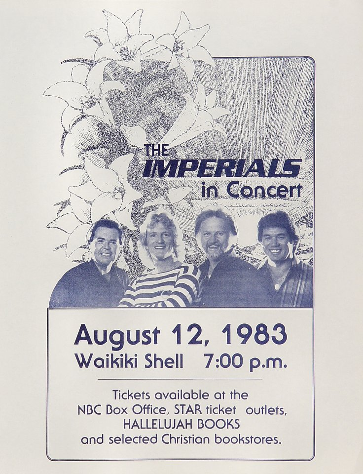 "The Imperials Handbill from Waikiki Shell on 12 Aug 83: 8 1/2"" x 11"""