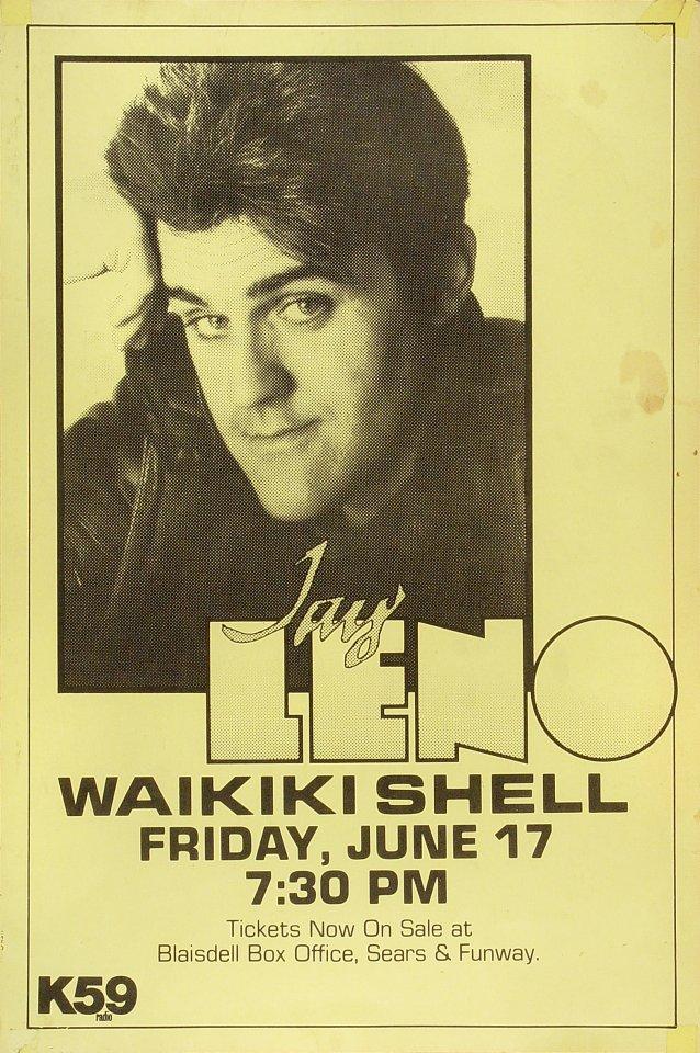 """Jay Leno Poster from Waikiki Shell on 17 Jun 88: 12"""" x 17 7/8"""""""