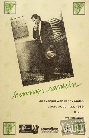 "Kenny Rankin Poster from Waikiki Shell on 22 Apr 89: 11 1/2"" x 17 3/4"""